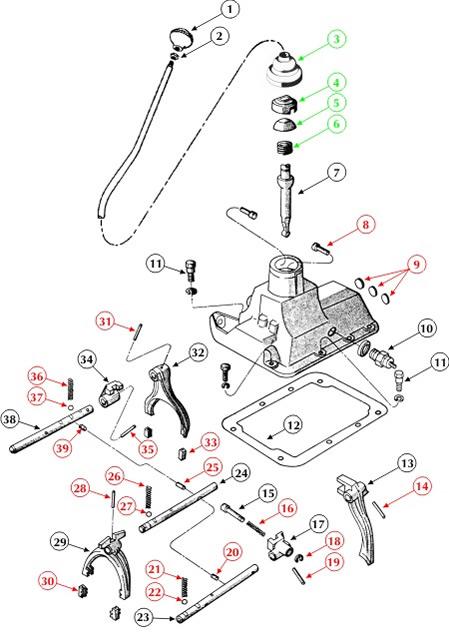 np435_transmission_shifter_top_cover_diagram