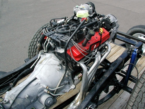 Powertrain in Utility Jeep chassis, overhead view